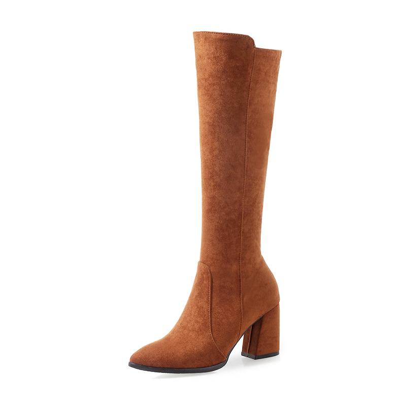 Women's Suede Chunky Heel Boots Knee