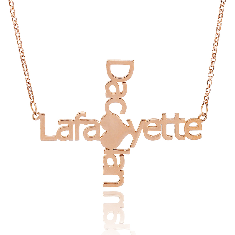 Custom 18k Rose Gold Plated Silver Cross Two Name Necklace With Heart - Birthday Gifts Mother's Day Gifts