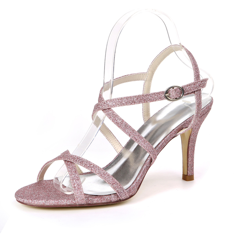 Women's Sparkling Glitter Stiletto Heel Sandals With Buckle Sparkling Glitter
