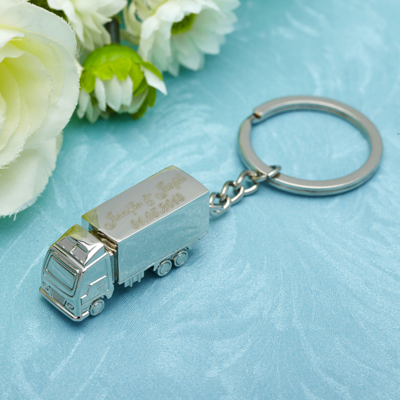 Personalized Truck Stainless Steel Keychains (Set of 4)