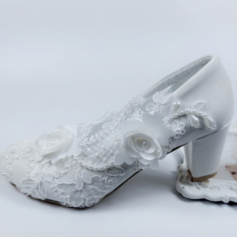 Women's Leatherette Chunky Heel Closed Toe Pumps With Rhinestone Stitching Lace Flower