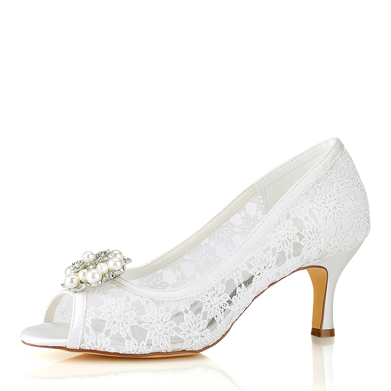 Women's Silk Like Satin Low Heel Peep Toe With Stitching Lace Others