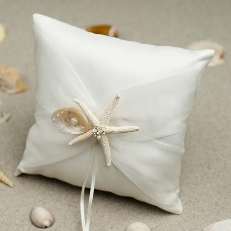 Lovely Ring Pillow in Cloth With Starfish and Seashell
