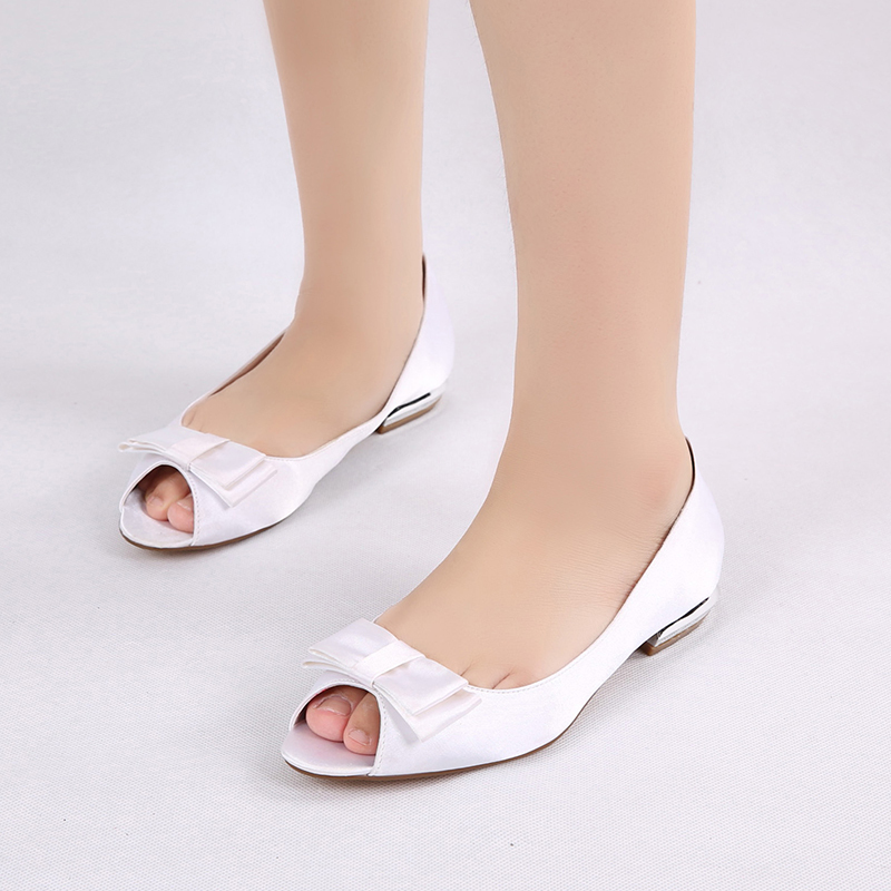 Women's Silk Like Satin Low Heel Flats Peep Toe