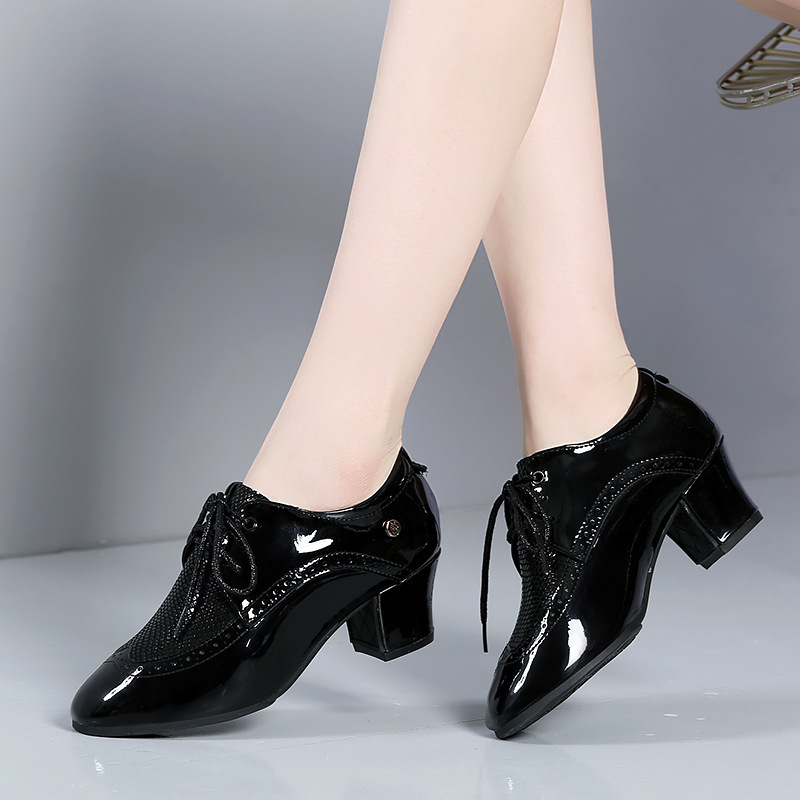 Women's Heels Latin Modern Belly Character Shoes With Lace-up Dance Shoes