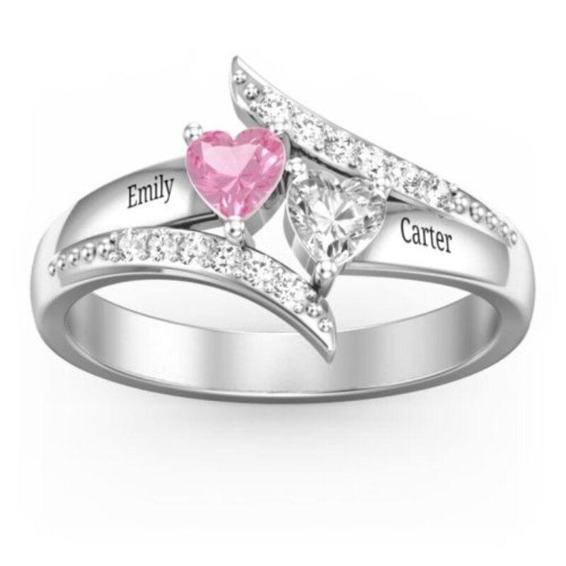 Elegant S925 Sliver Heart Cubic Zirconia/Birthstone Rings For Bride/For Friends/For Couple