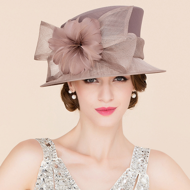 Ladies' Eye-catching Cambric With Feather Bowler/Cloche Hats/Kentucky Derby Hats/Tea Party Hats