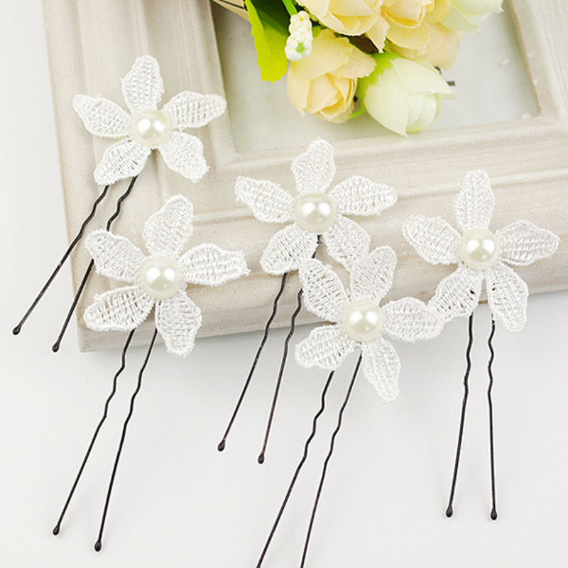 Beautiful Imitation Pearls/Lace Hairpins(Set of 6)