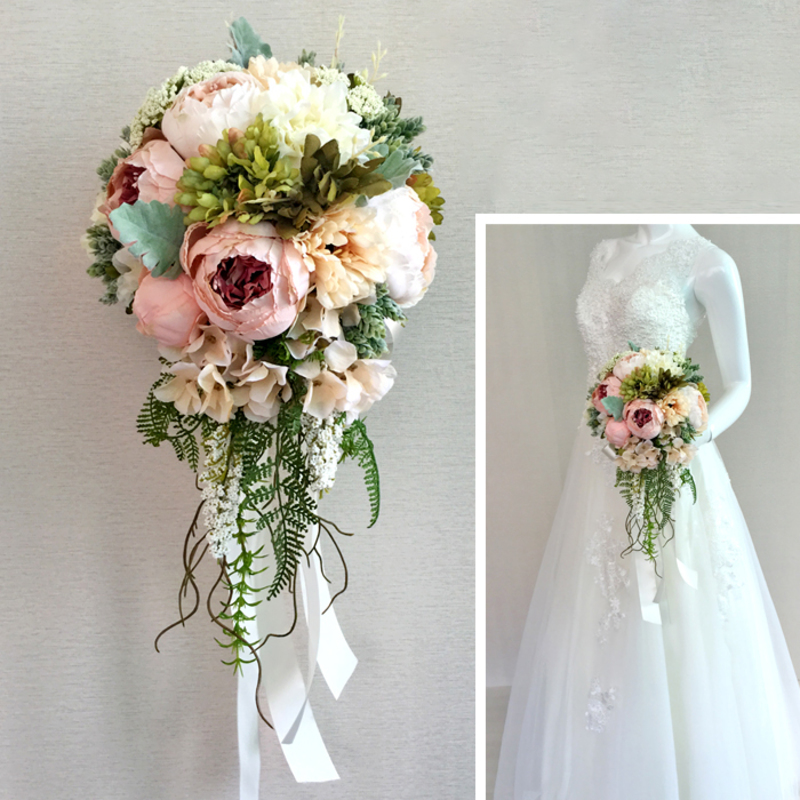 Romantic Satin Bridal Bouquets/Bridesmaid Bouquets -