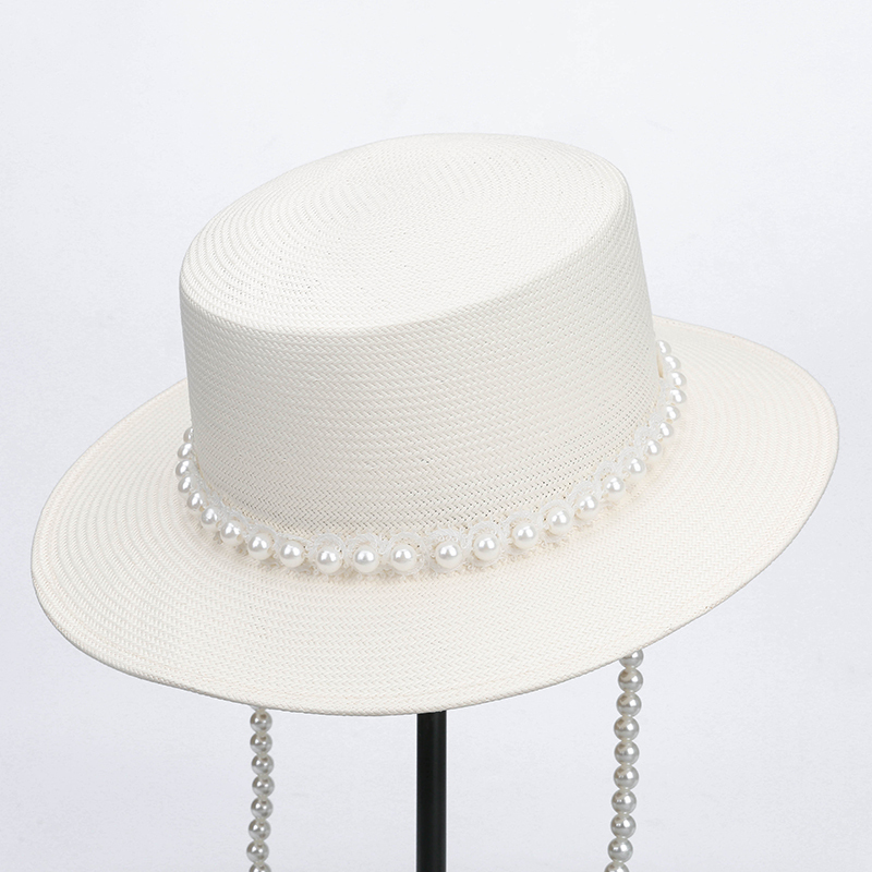 Ladies' Elegant/Fancy/High Quality Polyester With Imitation Pearls Straw Hats