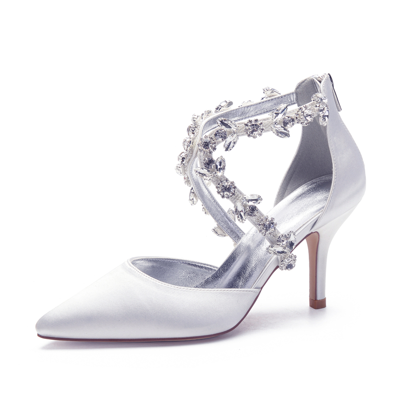 Women's Satin Stiletto Heel Pumps With Rhinestone Zipper