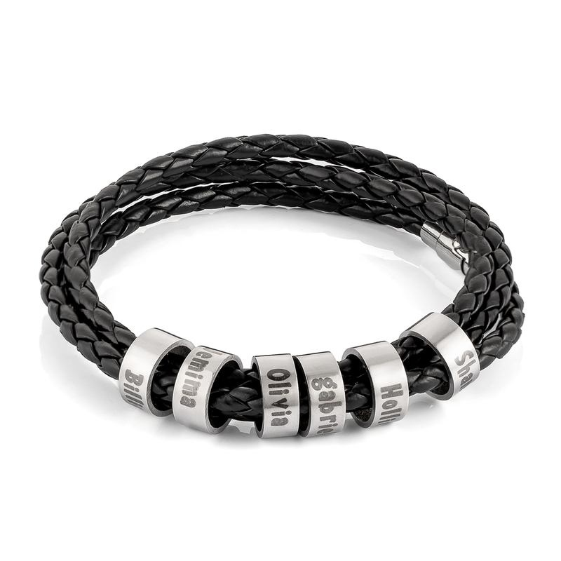 Men Braided Leather Bracelets With Custom Beads In Silver - Father's Day Gifts