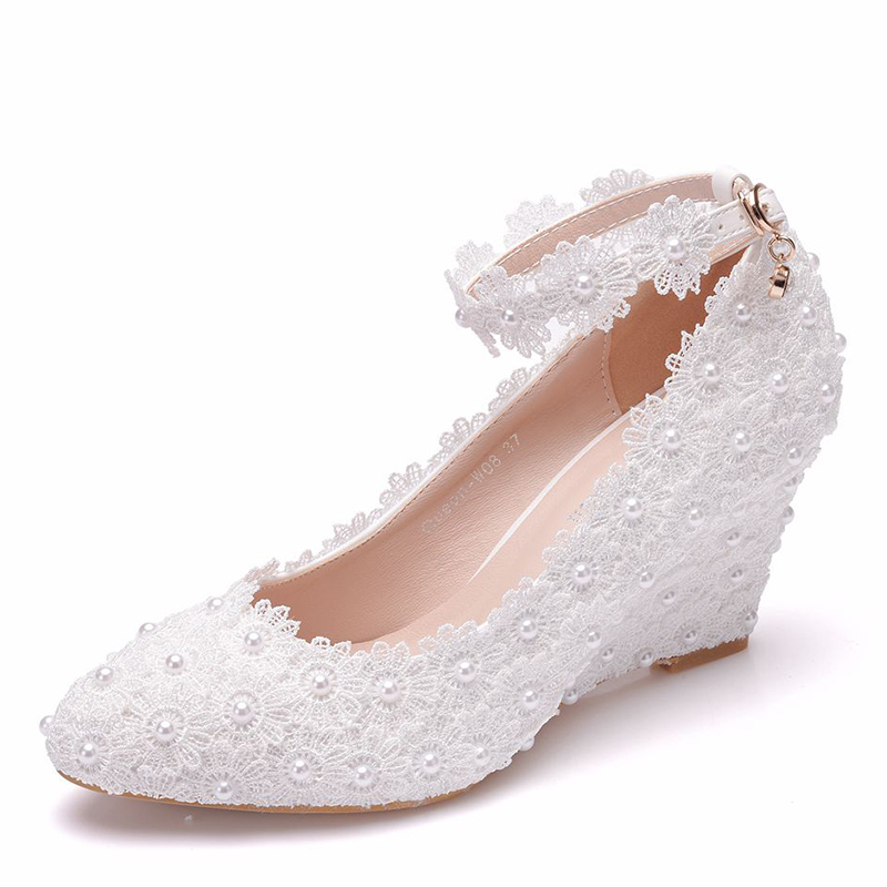 Women's Leatherette Fabric Wedge Heel Wedges With Imitation Pearl Flower