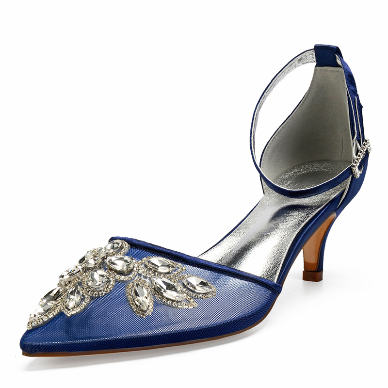 Women's Lace Silk Like Satin Mesh Kitten Heel Flats Sandals With Rhinestone Hollow-out
