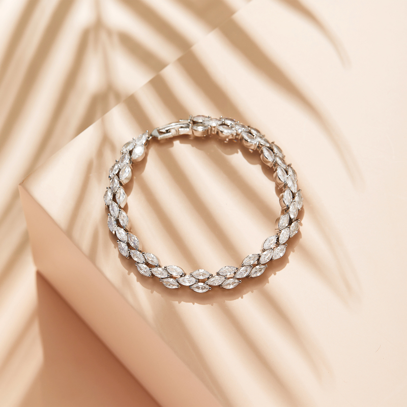 Non-personalized Ladies' Shining Zircon Bracelets For Her