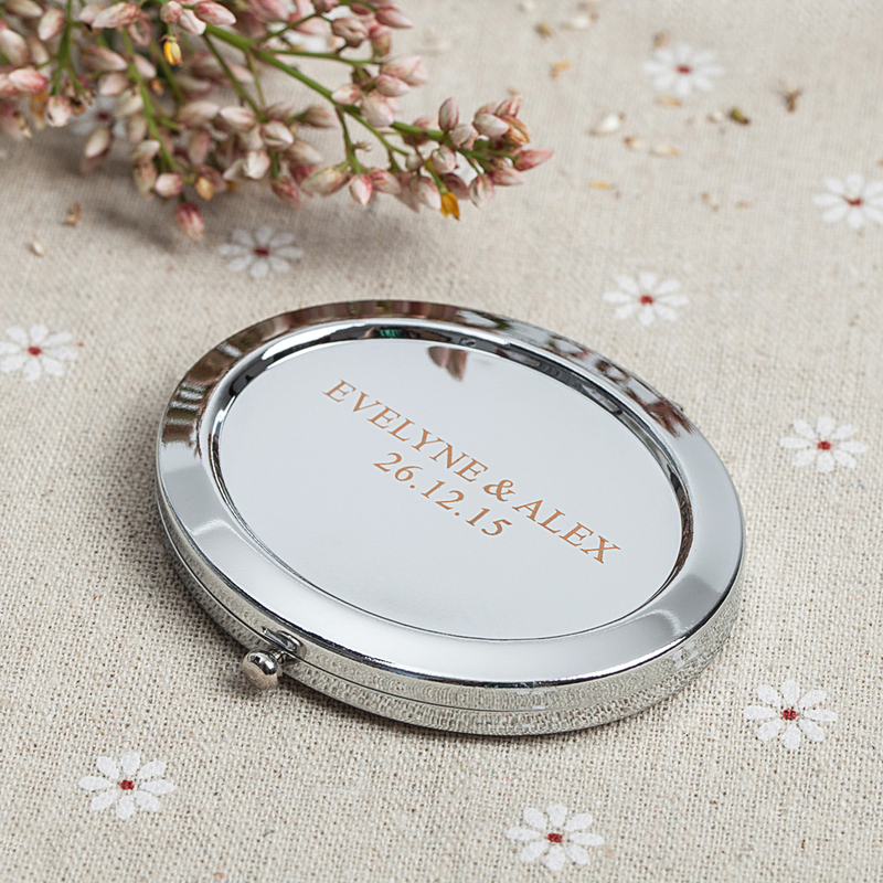 Personalized Stainless Steel Compact Mirror (Set of 4)