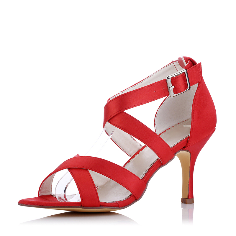 Women's Silk Like Satin Stiletto Heel Peep Toe Pumps Sandals With Buckle Hollow-out