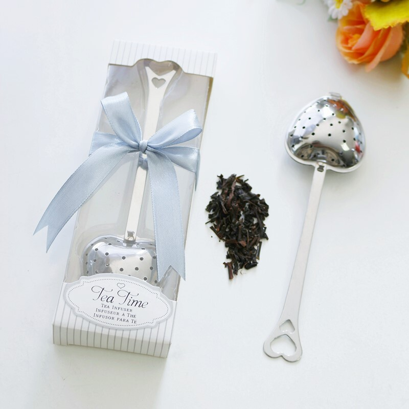 """""""Love Story""""/""""Tea Time"""" Heart Shaped Metal Tea Party Favors With Ribbons (Sold in a single piece)"""