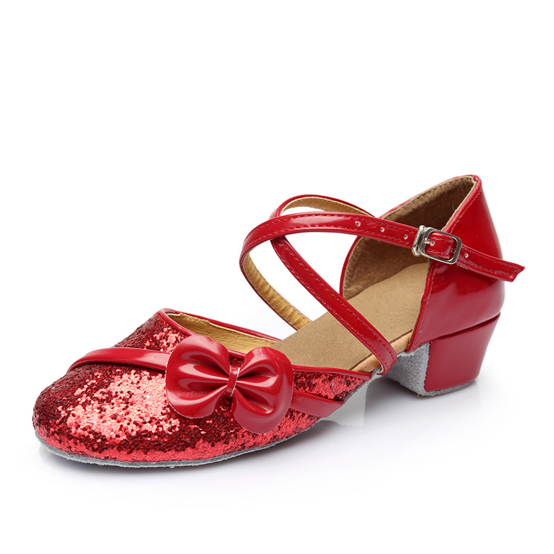 Women's Leatherette Sparkling Glitter Sandals Ballroom With Bowknot Buckle Hollow-out Dance Shoes