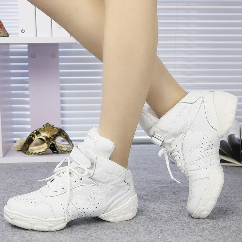 Women's Real Leather Sneakers Sneakers With Lace-up Dance Shoes