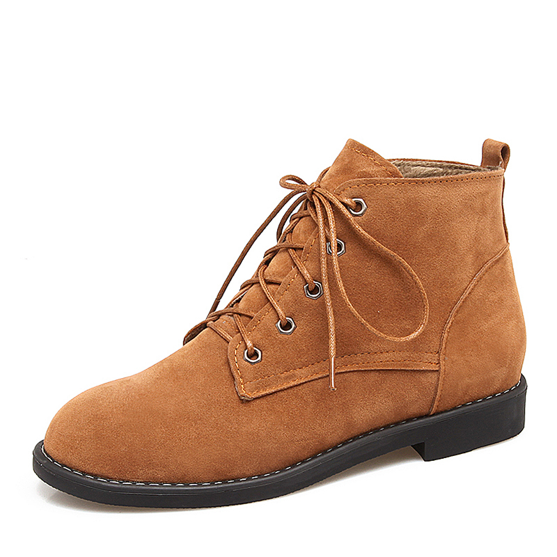 Suede Low Heel Boots Ankle Boots