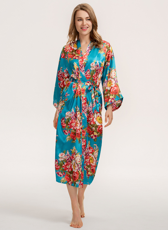 Beautiful Floral Silk / Cotton Robe