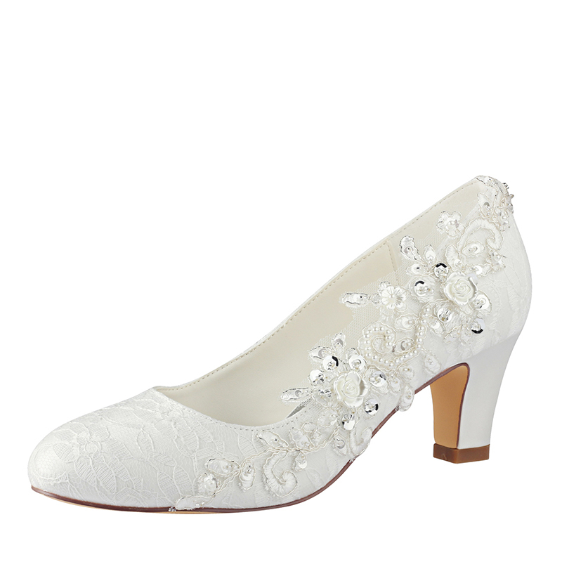 Women's Lace Silk Like Satin Chunky Heel Closed Toe Pumps With Stitching Lace
