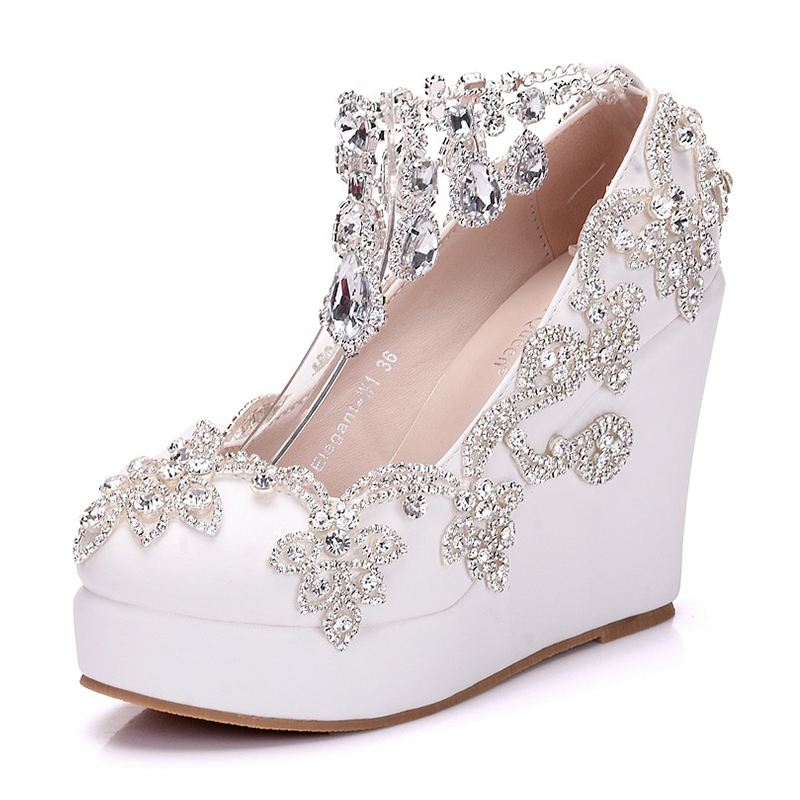 Women's Leatherette Wedge Heel Closed Toe Platform Wedges With Crystal