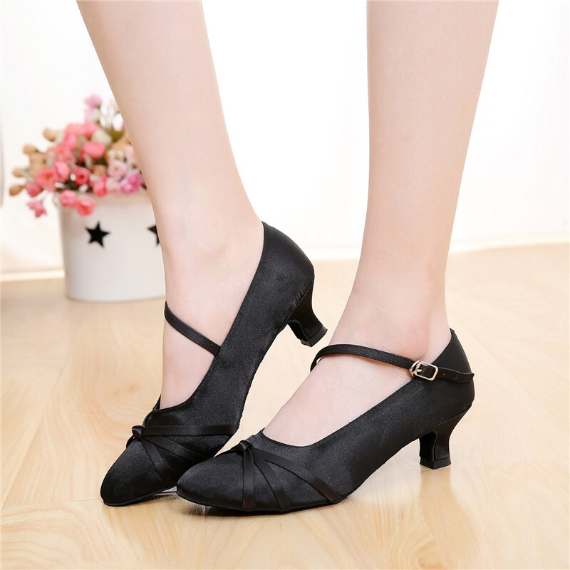 Women's Satin Pumps Ballroom With Buckle Dance Shoes