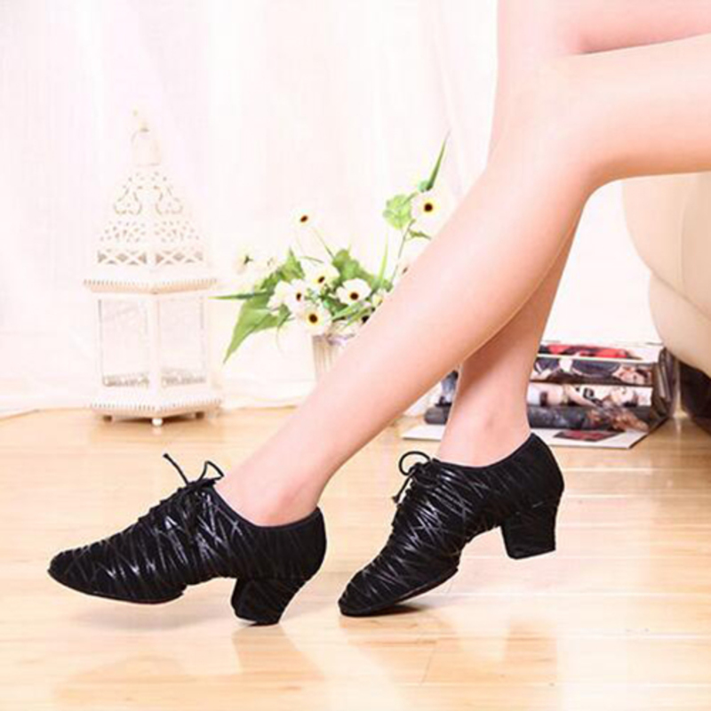 Women's Real Leather Heels Pumps Practice Dance Shoes