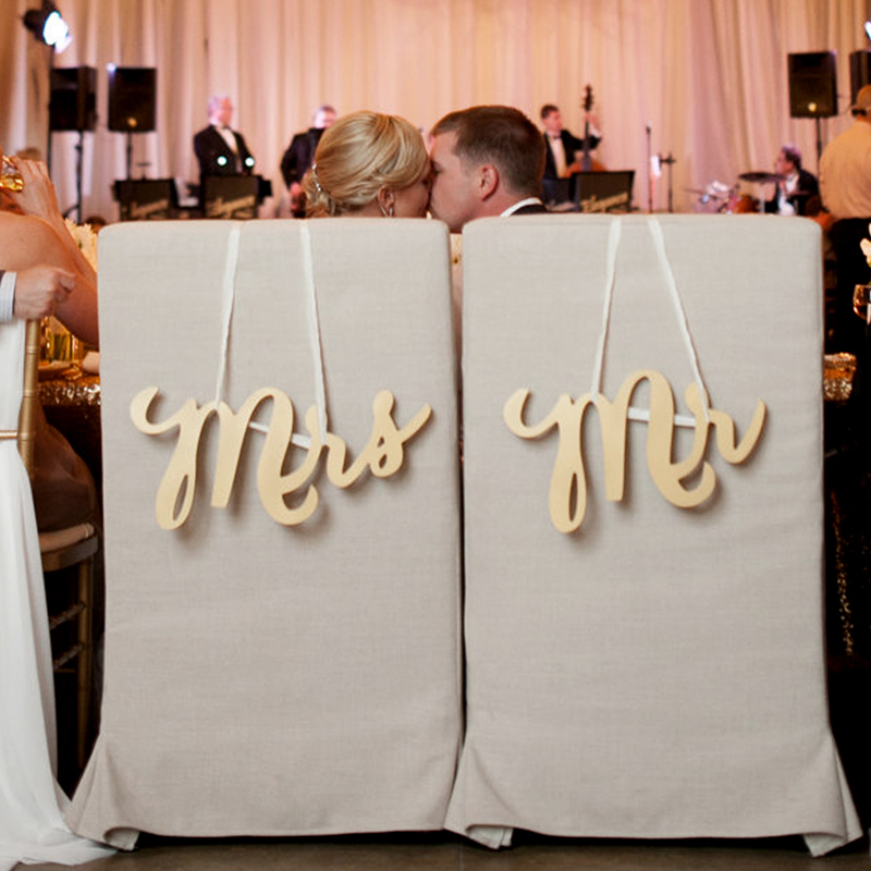 """Mr. & Mrs."" Elegant Wooden Wedding Sign (set of 2)"