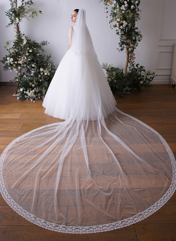 Two-tier Lace Applique Edge Cathedral Bridal Veils With Organza Binding