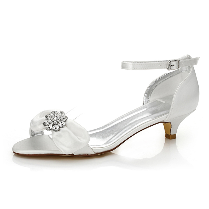 Women's Satin Low Heel Sandals Dyeable Shoes With Bowknot Rhinestone