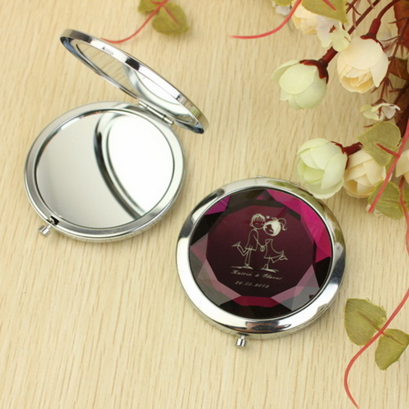 Personalized Crystal Diamond Stainless Steel Compact Mirror
