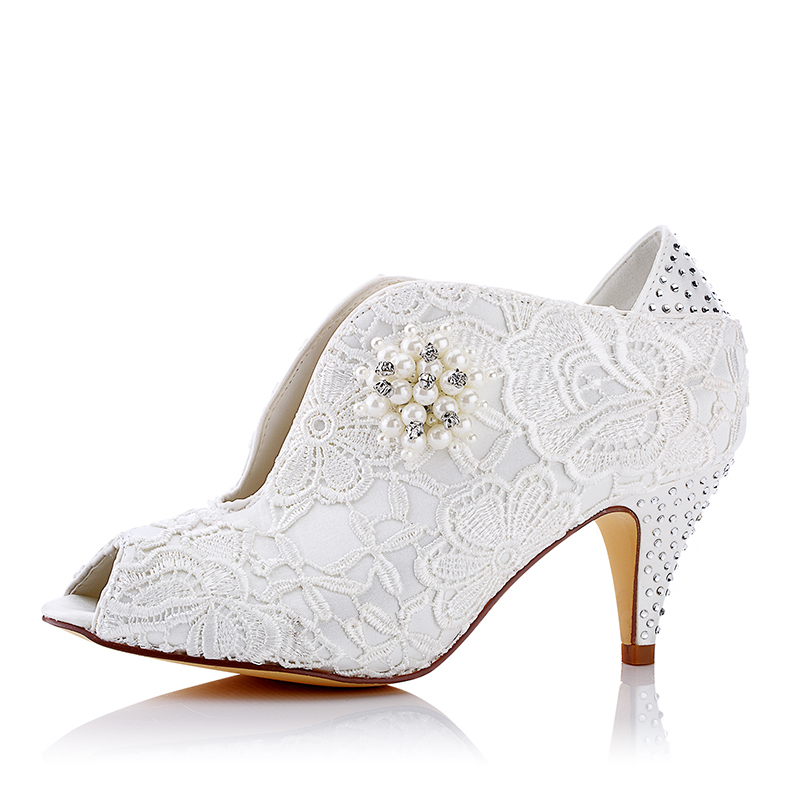 Women's Lace Silk Like Satin Spool Heel Peep Toe Pumps With Imitation Pearl Applique