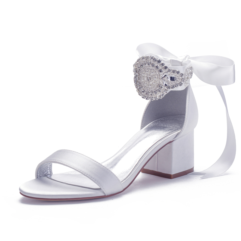 Women's Satin Chunky Heel Sandals With Bowknot Lace-up Pearl
