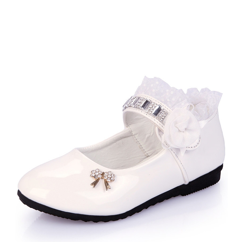 Girl's Closed Toe Leatherette Flat Heel Flats With Bowknot Rhinestone Satin Flower Ruched