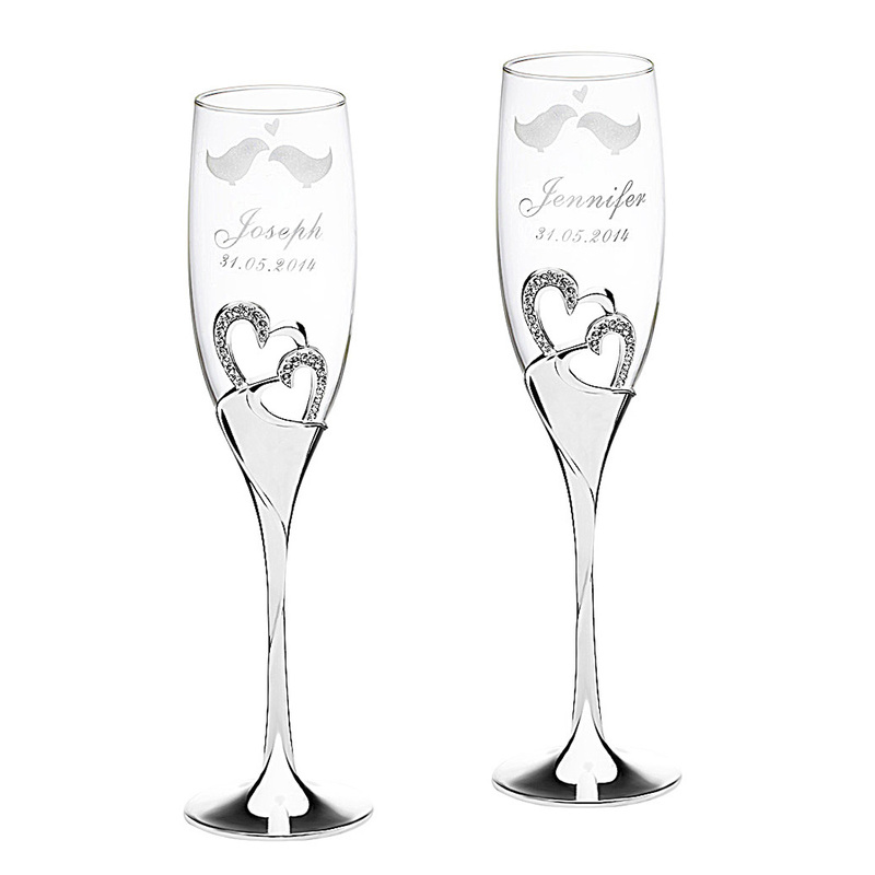 Personalized Lovely Birds Glass/Aluminum Toasting Flutes (Set of 2)