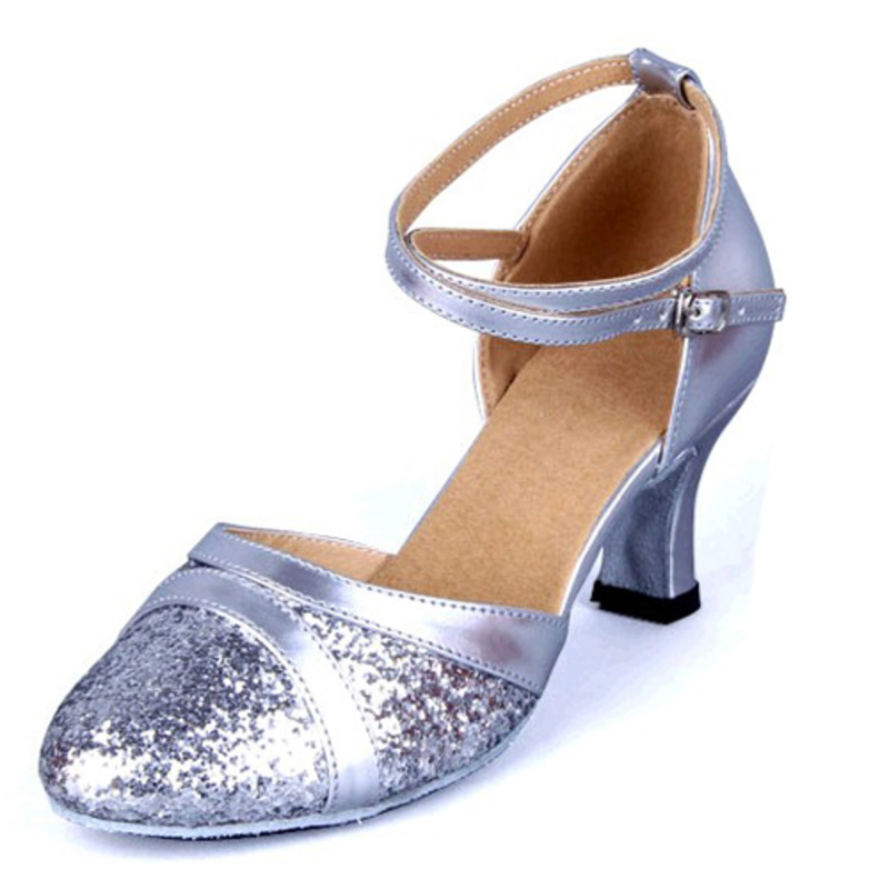 Women's Leatherette Sparkling Glitter Sandals Ballroom With Hollow-out Dance Shoes