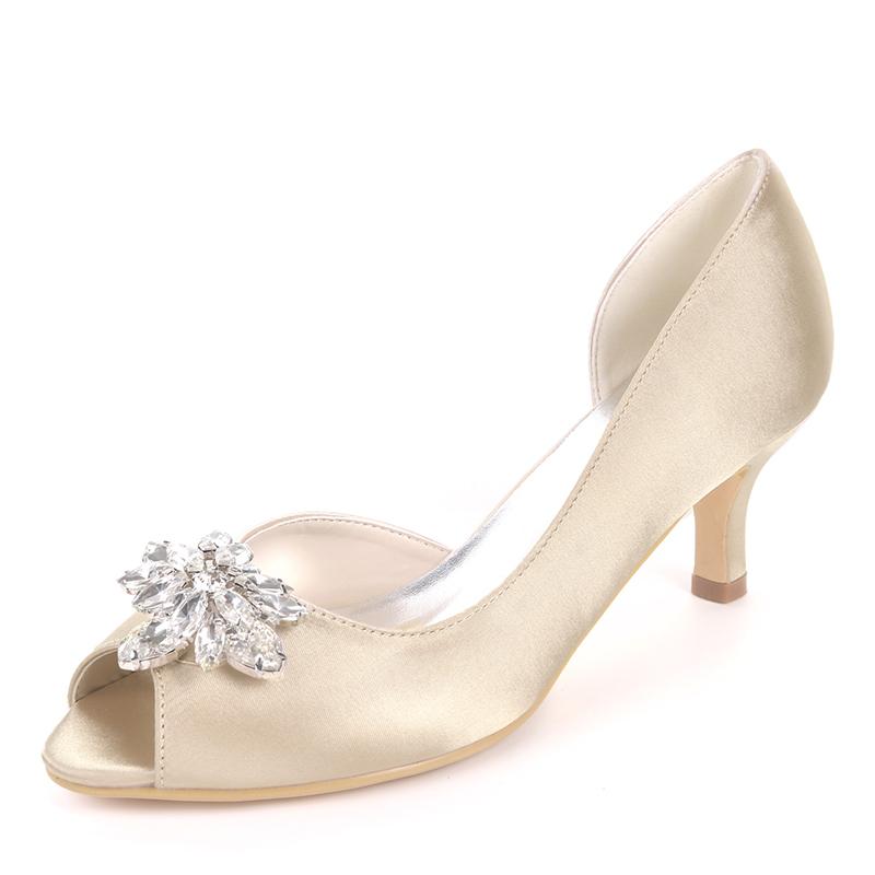 Women's Silk Like Satin Stiletto Heel Peep Toe Pumps With Rhinestone