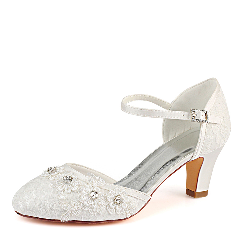 Women's Lace Silk Like Satin Chunky Heel Closed Toe Pumps With Stitching Lace Crystal