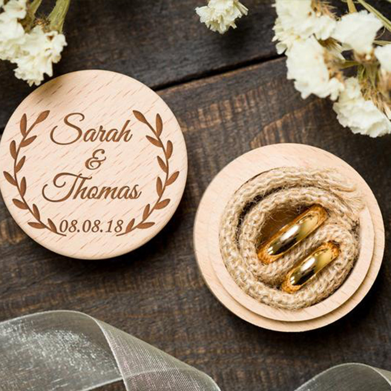 Elegant/Floral Design/Personalized Wood Ring Box
