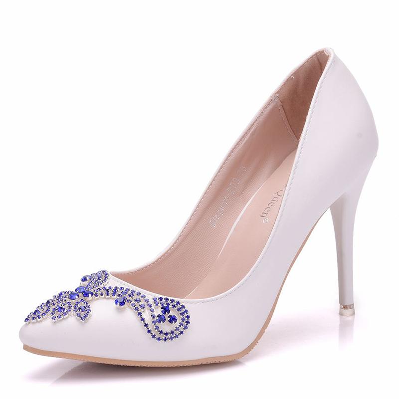 Frauen Kunstleder Spule Absatz Geschlossene Zehe Flache Schuhe mit Kristall