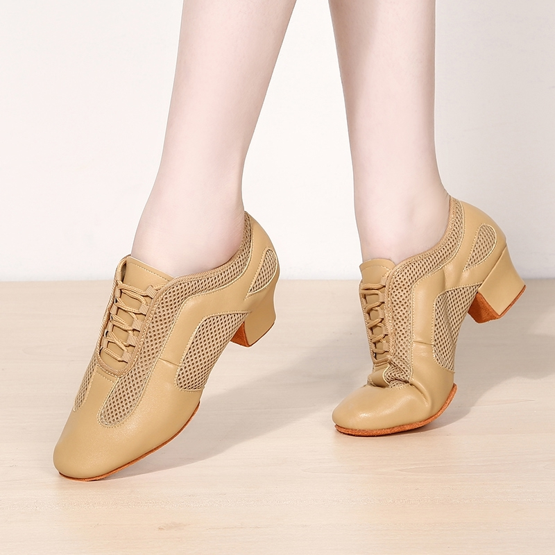 Women's Microfiber Leather Mesh Heels Sneakers Latin Modern Belly Practice With Lace-up Dance Shoes