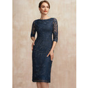 Sheath/Column Scoop Neck Knee-Length Lace Mother of the Bride Dress (008252050)