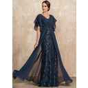 Sheath/Column V-neck Floor-Length Chiffon Lace Mother of the Bride Dress With Ruffle Sequins (008217328)