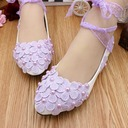 Women's Leatherette Flat Heel Closed Toe With Imitation Pearl Flower Lace-up Applique