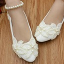 Women's Lace Leatherette Flat Heel Closed Toe With Imitation Pearl Applique
