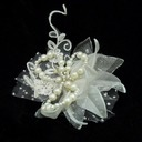 Beautiful Artificial Silk/Tulle Flowers & Feathers With Venetian Pearl