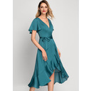 A-Line V-neck Asymmetrical Satin Chiffon Cocktail Dress With Bow(s) Cascading Ruffles (016212861)